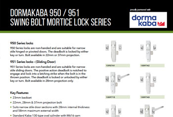 950/951 Swing Bolt Mortice Lock Series