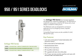 Schlage 950/951 Series Deadlock