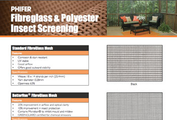 Fibreglass & Polyesterd Insect Screening