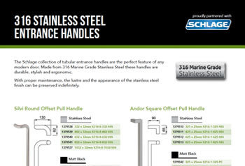 Schlage 316 Stainless Steel Entrance Handles