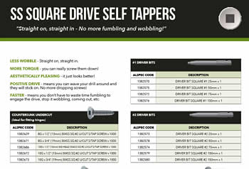 SS Square Drive Self Tappers