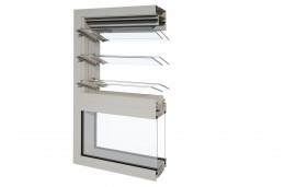 Alspec Dualair Assembly - Hunter Evo Framing - 2 Powerlouvre + Double Fixed Glass